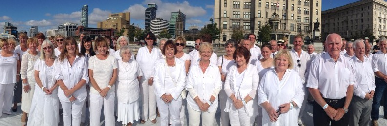 Mersey Wave Choir performing for BBC1 'The One Show' at the Pier Head, Liverpool
